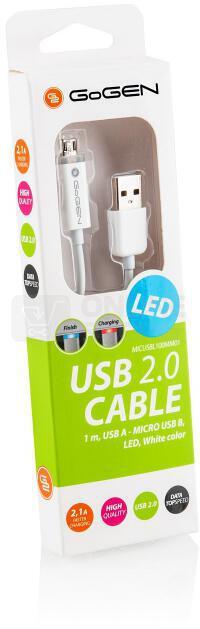 Kabel GoGEN USB/micro USB, 1m, LED - bílý