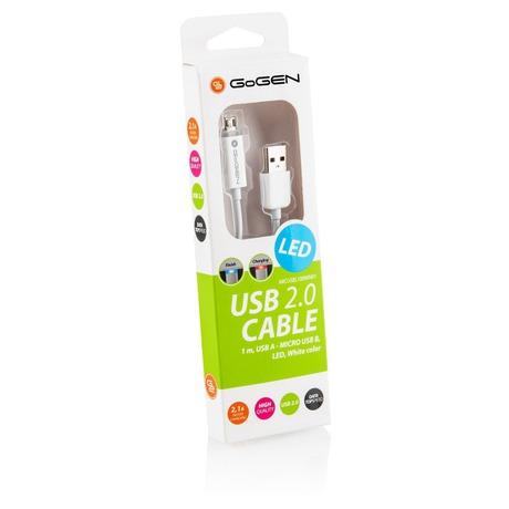 Kabel GoGEN USB A/microUSB B, LED, propojovací, 1m - GoGEN USB/micro USB, 1m, LED - bílý (foto 1)