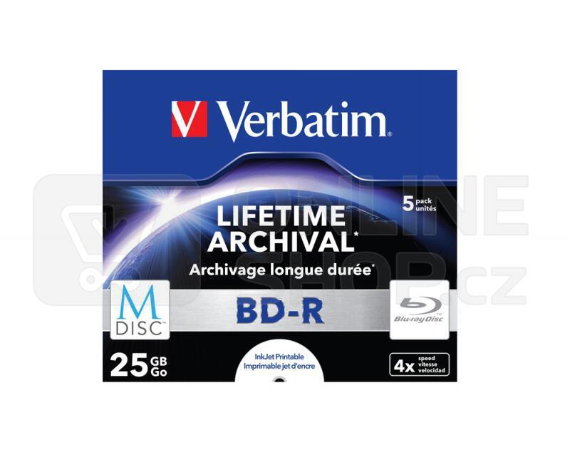 Disk Verbatim BD-R M-Disc 25GB, 4x, printable, jewel box, 5ks