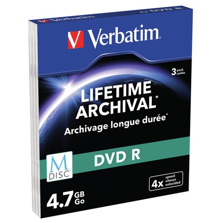 Disk Verbatim DVD-R M-Disc 4,7GB, 4x, printable, slim box, 3ks - Verbatim DVD-R M-Disc 4,7GB, 4x, printable, slim box, 3ks (foto 1)