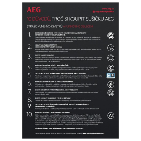 Sušička prádla AEG AbsoluteCare® T8DBG48WC - AEG ProSteam® L7FEC48SC + Sušička AEG AbsoluteCare® T8DBG48WC (foto 27)