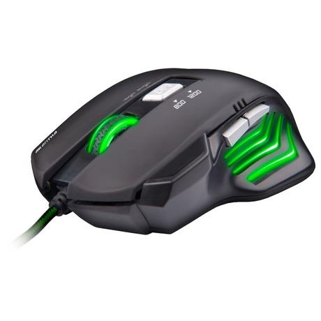 Myš C-Tech Akantha / optická / 6 tlačítek / 2400dpi - černá/zelená