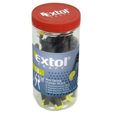 Svorka plastová, sada 18ks vplastové dóze, 70mm, rozpětí čelistí 20mm EXTOL-CRAFT (foto 1)