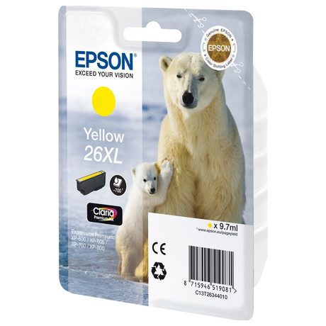 Epson Singlepack Yellow 26XL Claria Premium Ink (C13T26344012)