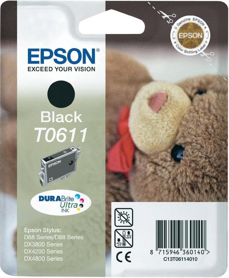 Inkoustová náplň Epson T0611, 8ml originální - černá