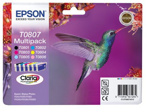 Cartridge Epson (C13T08074010), Claria Photographic Ink 6 COLOR MULTIPACK, pro Stylus Photo R265/285/360,RX560/585/685