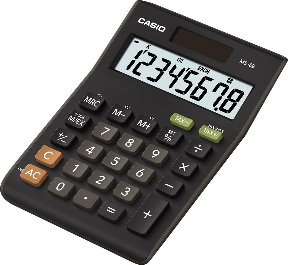 Kalkulačka Casio MS 8 B S (TAX+EXCHANGE)