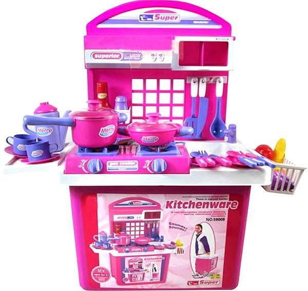 Hračka G21 Dětská kuchyňka s příslušenstvím v kufru růžová