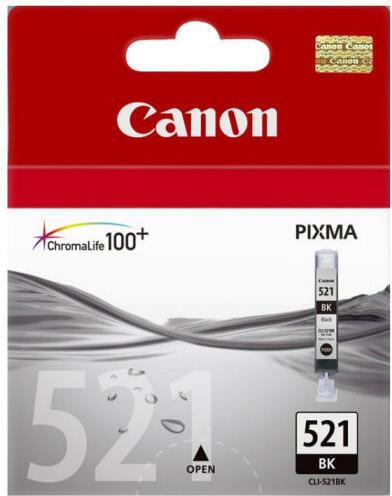Inkoustová náplň Canon CLI-521Bk, 665 stran, originální - černá