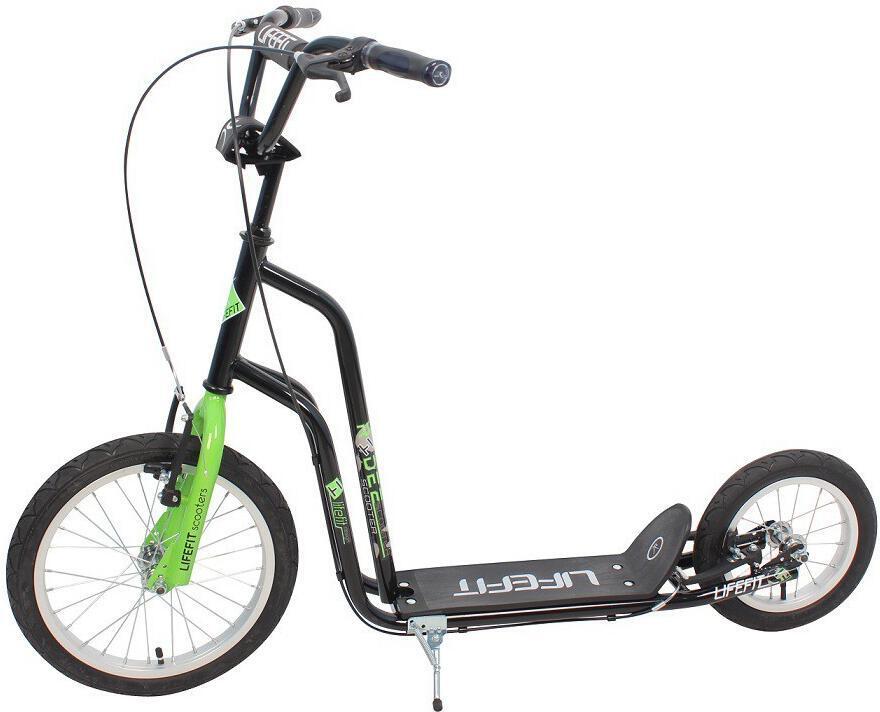 """Koloběžka Lifefit Rider 16""""/12"""" - černá/zelená"""
