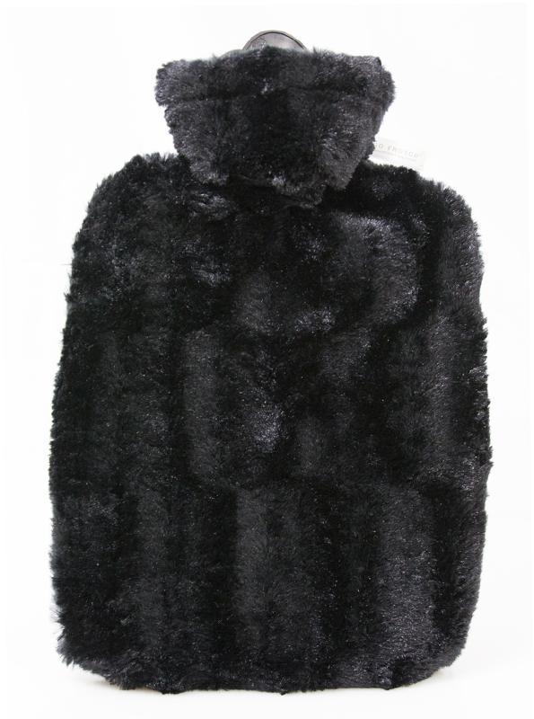 Termofor Hugo Frosch Classic s obalem z umělé kožešiny – černý s podšívkou