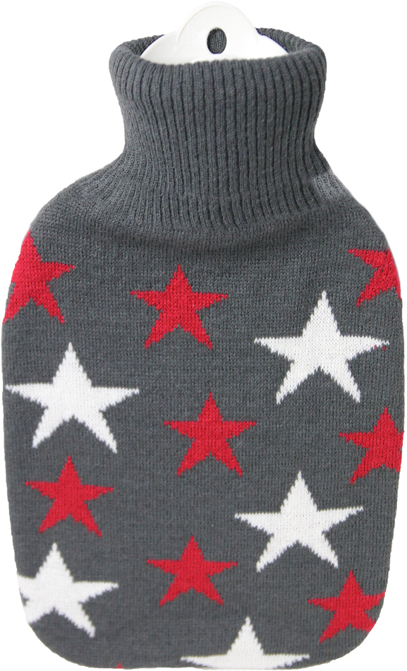 Termofor Hugo Frosch Classic s pleteným obalem – bordó hvězdy
