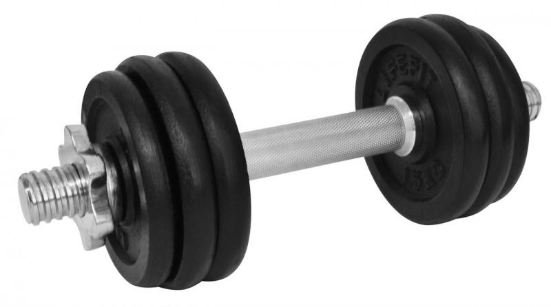 Činka LIFEFIT nakládací jednoruční 10 kg, 6x kotouč - lakované kotouče - kov/černá