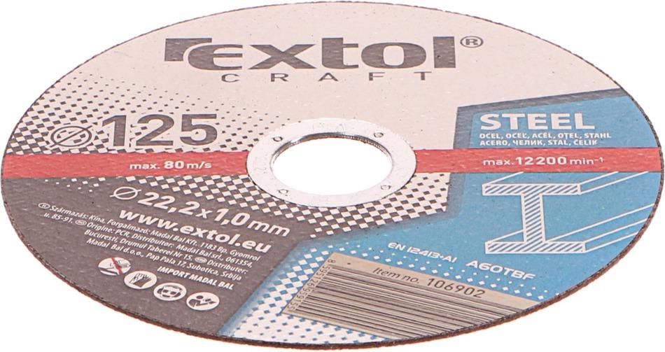 Řezný kotouč Extol Craft, na kov, 5ks, 125x1,0x22,2mm