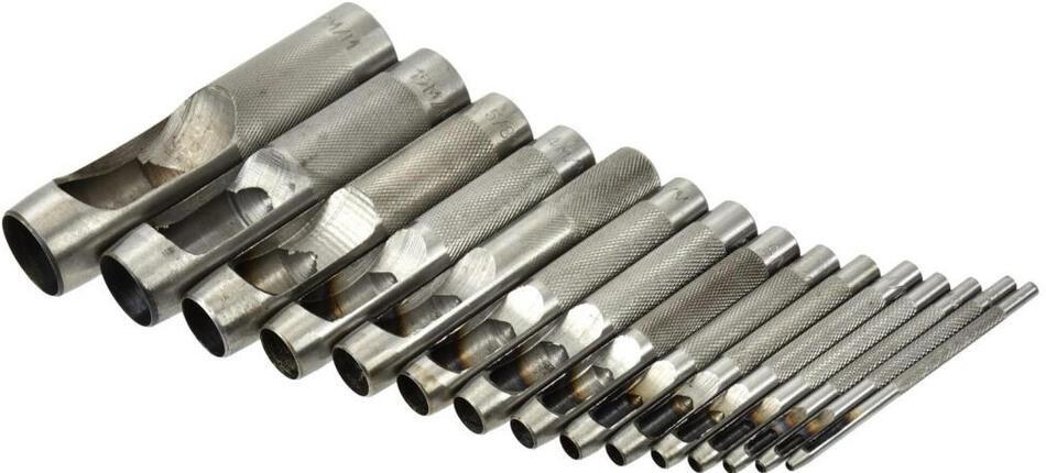 Děrovač kůže, sada 15ks, 2-2,5-3,2-4-4,8-5,5-6,4-8-9,5-11-12,7-14-15,8-19-22mm GEKO