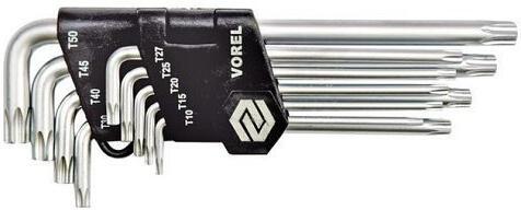 Sada klíčů TORX 9 ks, T 10-15-20-25-27-30-40-45-50 TOYA