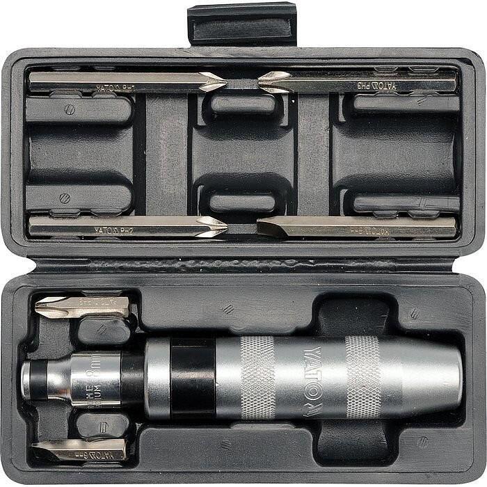 Šroubovák úderový kovový s příslušenstvím, 7 ks, box YATO