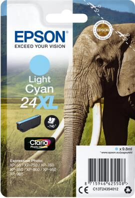 Epson Singlepack Light Cyan 24XL Claria Photo Ink (C13T24354012)