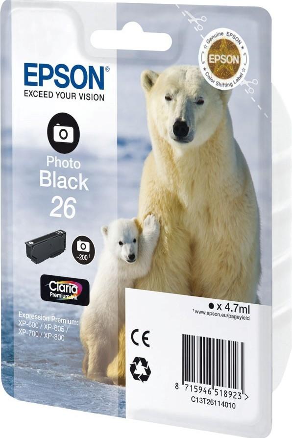 Epson Singlepack Photo Black 26XL Claria Prem Ink (C13T26314012)