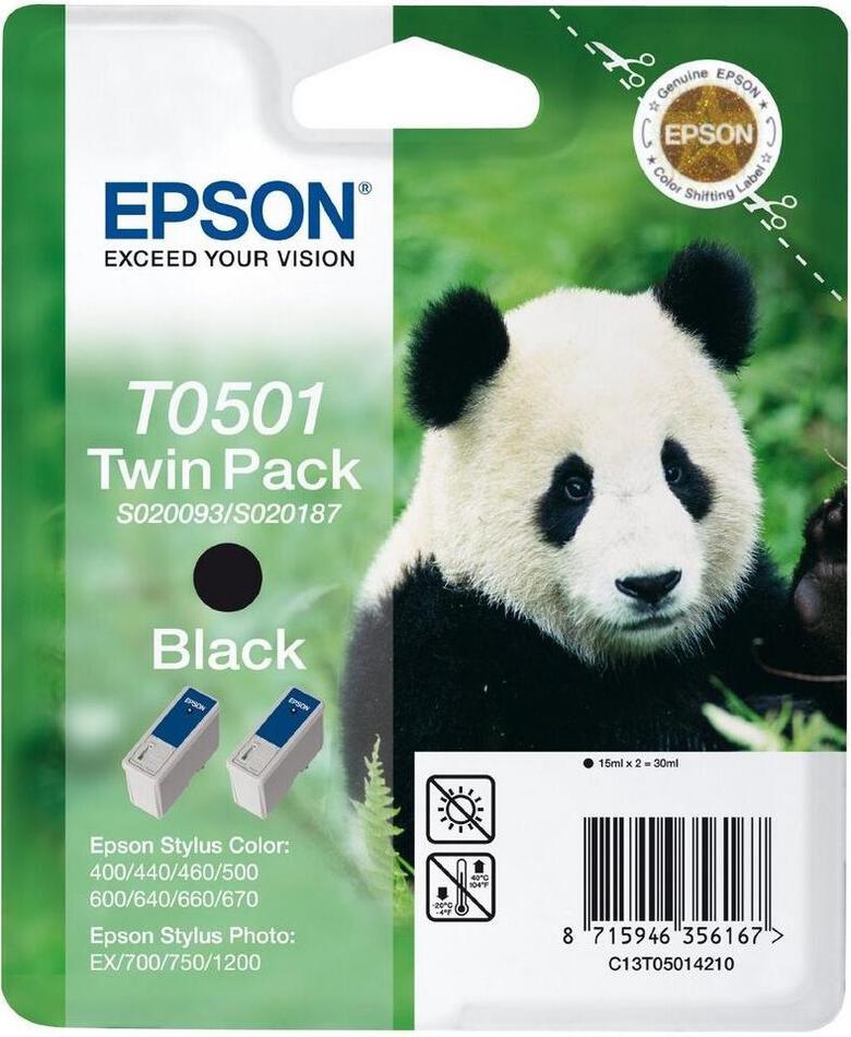 Inkoustová náplň Epson T0501, 2x 15ml originální - černá