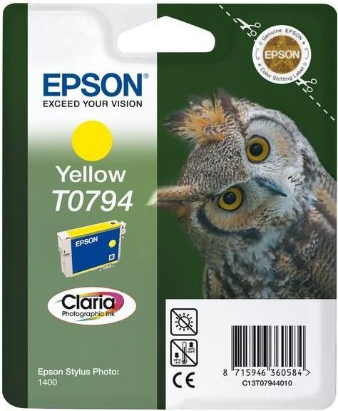 Inkoustová náplň Epson T0794, 11ml originální - žlutá