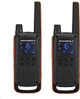 Motorola vysílačka TLKR T82 (2 ks, dosah až 10 km), IPx2, černo/oranžová (B8P00811EDRMAW)