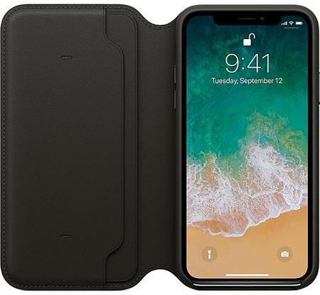 Pouzdro na mobil flipové Apple Leather Folio pro iPhone X - černé ... a448e4023d4
