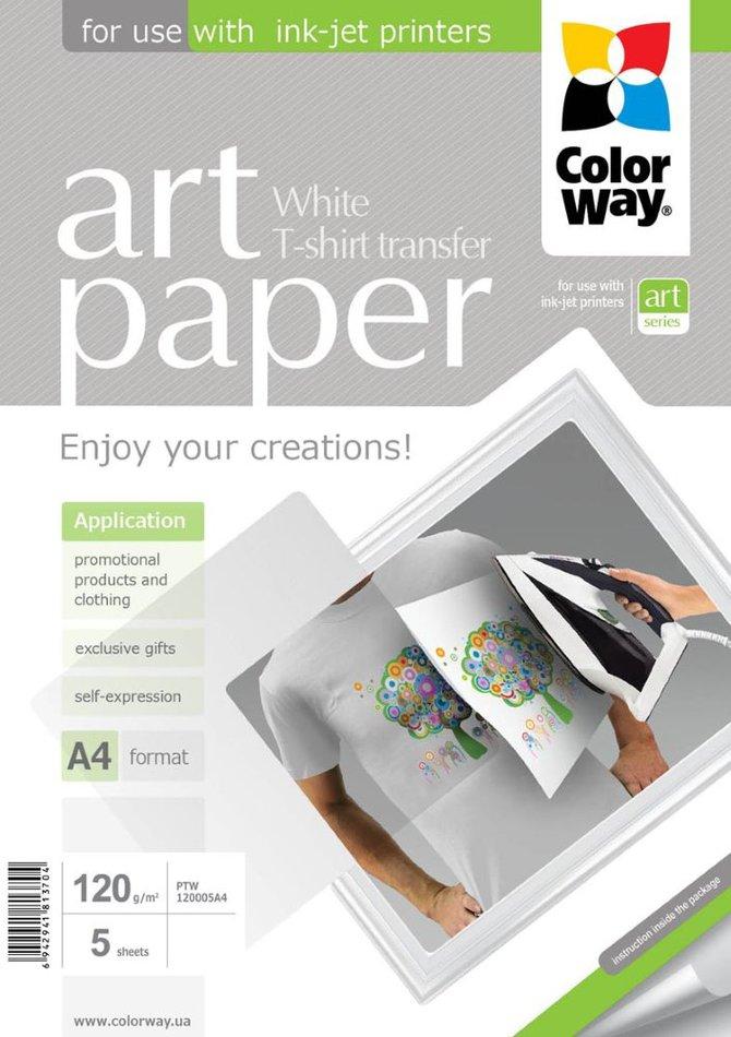 COLORWAY nažehlovací papír/ na světlý textil/ 120g/m2, A4/ 5 kusů (PTW120005A4)
