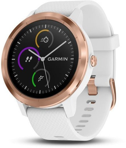 bf06d331f GARMIN GPS multisportovní hodinky vívoActive3 Optic Rose Gold, White band  (010-01769-