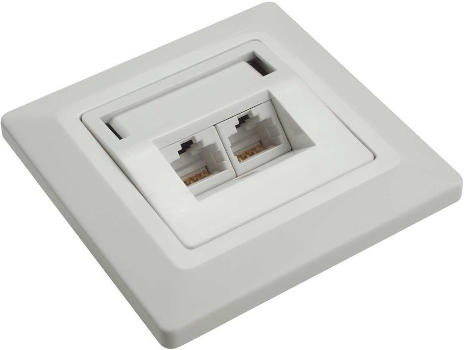 Solarix SX9-2-6-STP-WH Ethernetová Zásuvka pod omítku 2xRJ45 STP c6 (23100094)