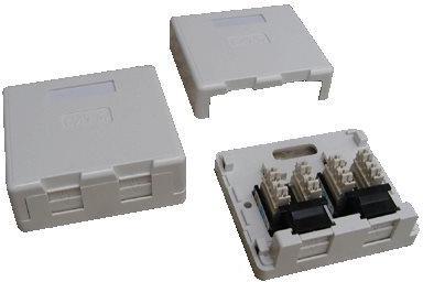 DATACOM Datová zásuvka UTP CAT5E 2xRJ45 na omítku (protiprachová) (2334)