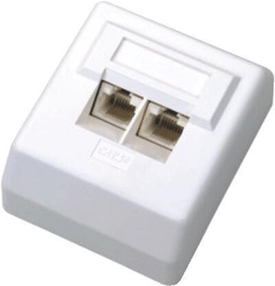 DATACOM Datová zásuvka UTP CAT5E 2xRJ45 na omítku 45st. bílá (2000)