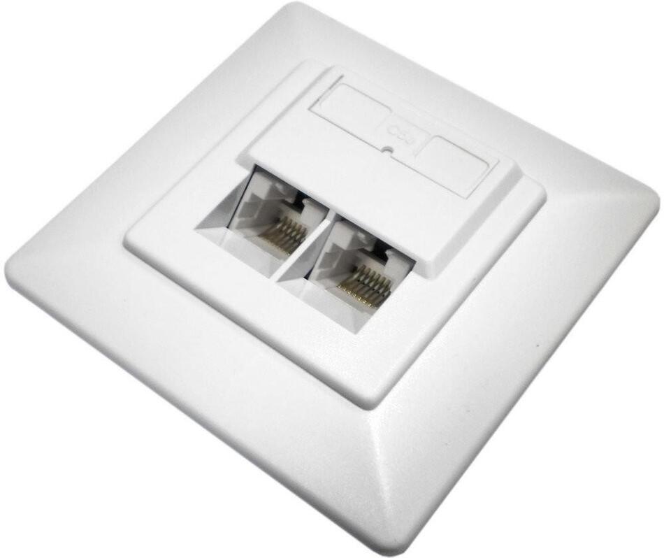 DATACOM Datová zásuvka UTP CAT5E 2xRJ45 pod omítku 45st. bílá (2050)
