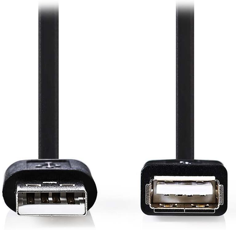 NEDIS prodlužovací kabel USB 2.0/ zástrčka A - zásuvka A/ černý/ bulk/ 1m (CCGT60010BK10)