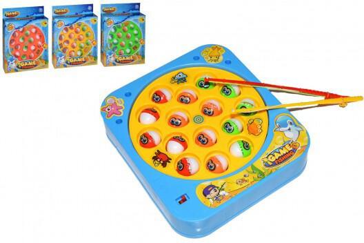 Hra ryby/rybář plast 18x16cm 3 barvy na baterie se zvukem v krabici 16,5x21,5x4cm
