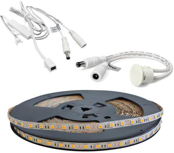 LED pásek sada 20m 12V 5050 60LED/m IP20 max. 14,4W/m bílá teplá extra, gold + TD308 + IR306 TIPA