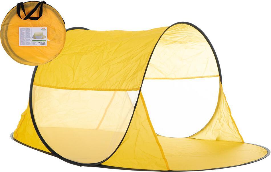 Stan plážový žlutý 140x70x62cm samorozkládací polyester/kov v látkové tašce
