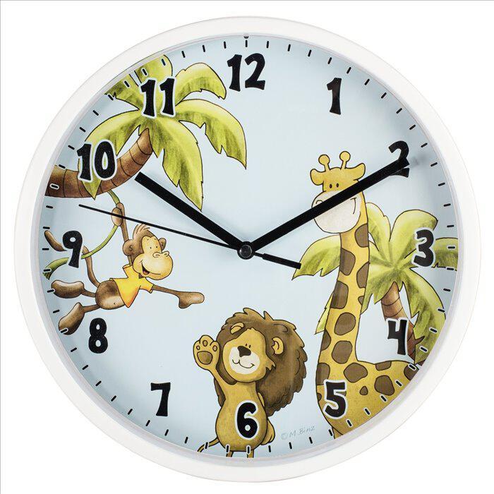 HAMA dětské nástěnné hodiny Safari/ průměr 22,5 cm/ tichý chod/ 1x AA baterie/ bílé (safari) (186378)