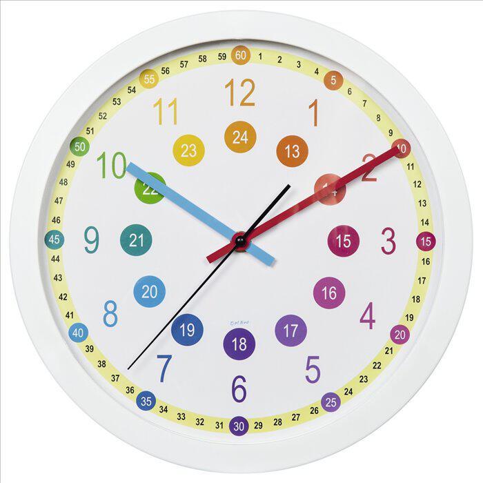 HAMA dětské nástěnné hodiny Easy Learning/ průměr 30 cm/ tichý chod/ 1x AA baterie/ bílé (186395)