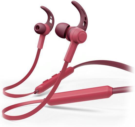 HAMA headset Connect Neck/ bezdrátová sluchátka + mikrofon/ špuntová/ Bluetooth/ citlivost 96 dB/mW/ červená (184058)