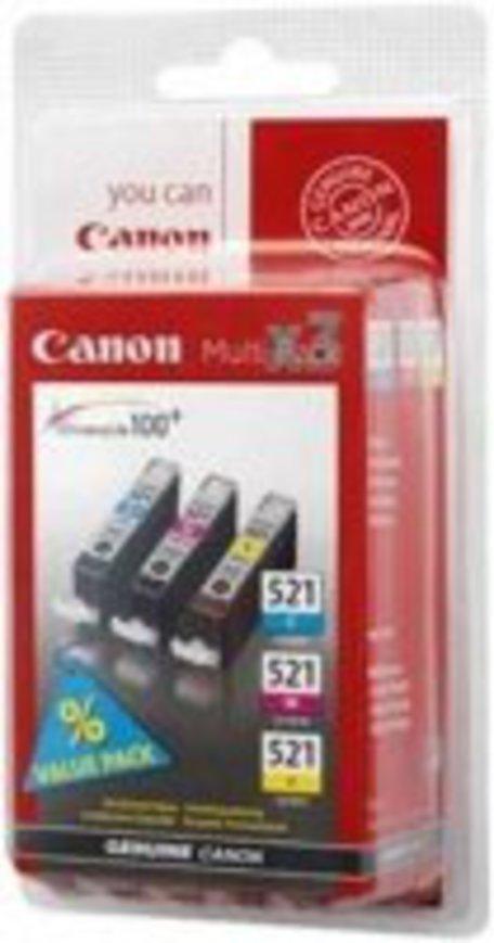 Inkoustová náplň Canon CLI-521, 350 stran, originální - modrá/žlutá/růžová