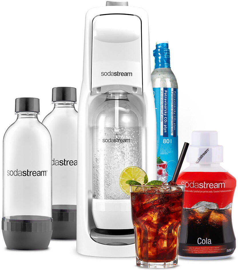 SET Výrobník sody Sodastream JET WHITE + Lahev DuoPack 1l + Příchuť COLA 500ml