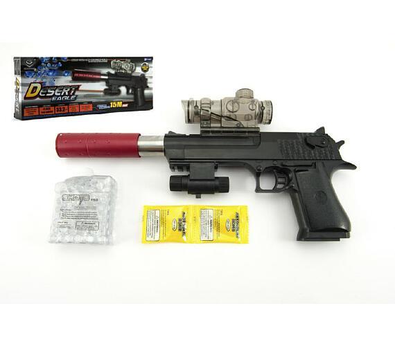 Pistole plast/kov 33cm na vodní kuličky + náboje 9-11mm na baterie se světlem v krabici 34x13x4c