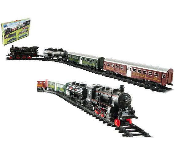 Vlak + 3 vagóny s kolejemi 24ks plast na baterie se světlem se zvukem v krabici 59x39x6cm + DOPRAVA ZDARMA