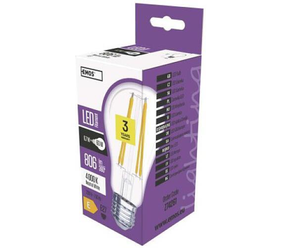 LED žárovka Filament A60 A++ 6W E27 neutrální bílá