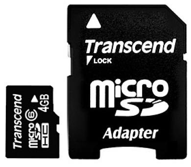 Transcend 4GB microSDHC (Class 6) paměťová karta (s adaptérem)