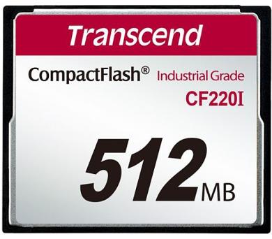 Transcend 512MB INDUSTRIAL TEMP CF220I CF CARD (SLC) Fixed disk and UDMA5 + DOPRAVA ZDARMA