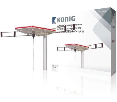 König KN-ANT-CAMP - DVB-T/T2 - DAB+ venkovní anténa se Zesilovačem 24 dB FM / VHF / UHF
