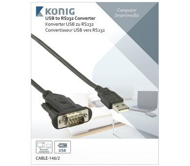 König CABLE-146/2 - Převodník USB A zástrčka - RS232