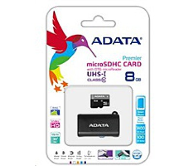 ADATA Micro SDHC karta 8GB UHS-I Class 10 + OTG čtečka USB 2.0